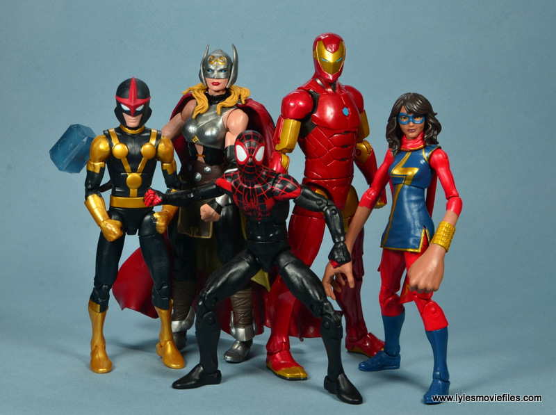 marvel legends invincible iron man figure review -with nova, thor, spider-man and ms. marvel