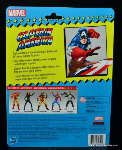 marvel legends retro captain america figure review - package rear