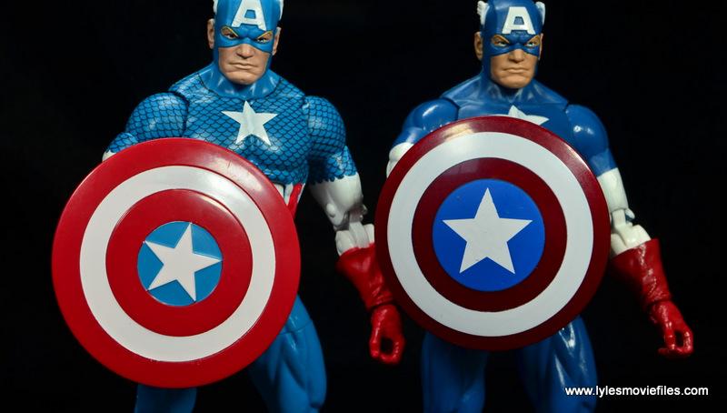 marvel legends retro captain america figure review - retro and regular shield