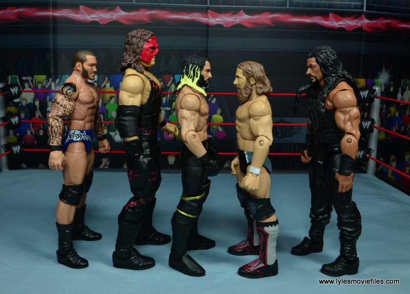 wwe elite 47b kane figure review -scale with randy orton, seth rollins, daniel bryan and roman reigns