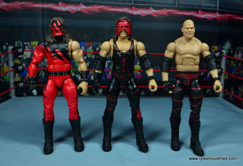 wwe elite 47b kane figure review -with original kane and bald kane