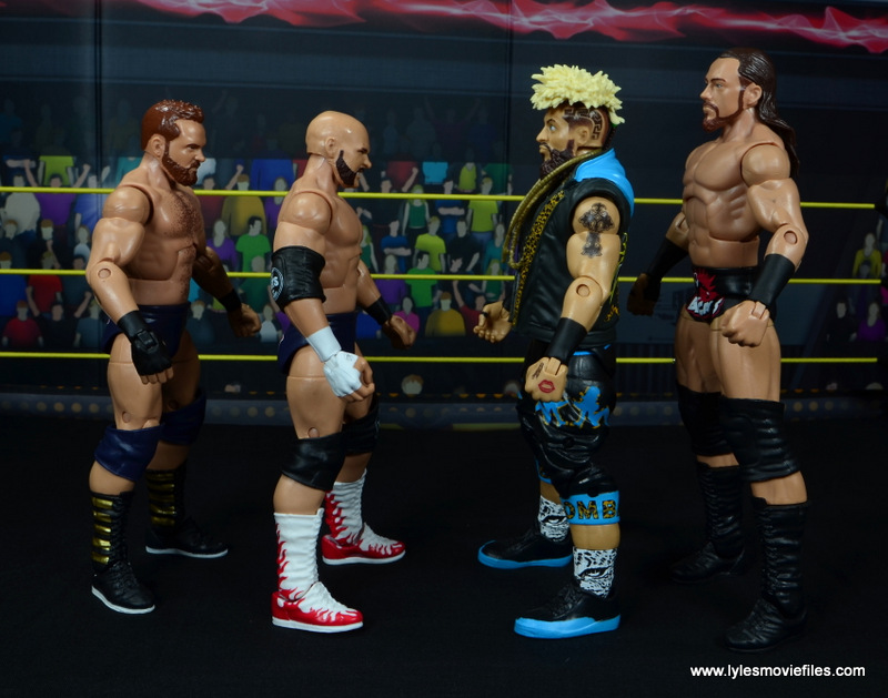 wwe elite the revival scott dawson and dash wilder figure review -scale with big cass and enzo amore