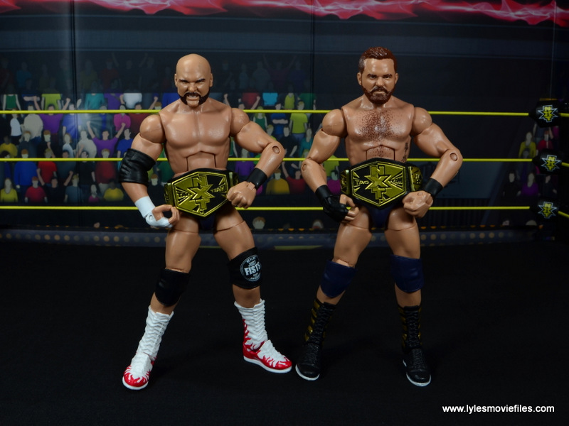 wwe elite the revival scott dawson and dash wilder figure review -with nxt tag belts on