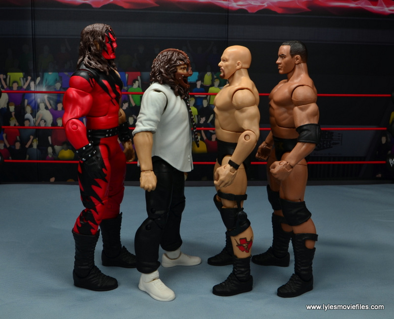 wwe summerslam elite mankind figure review - scale with kane, stone cold steve austin and the rock