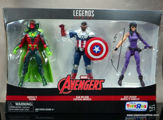 Marvel Legends Avengers Vision, Kate Bishop and Sam Wilson figure review - pckage front