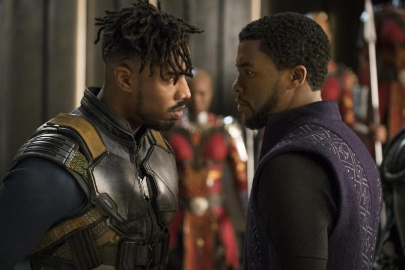 black panther movie review - erik killmonger and t'challa