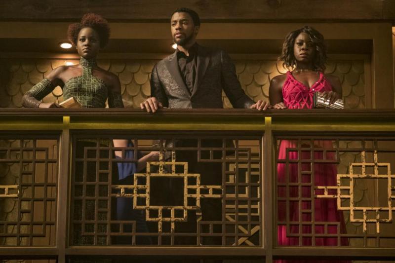black panther movie review - nakia, t'challa and okoye