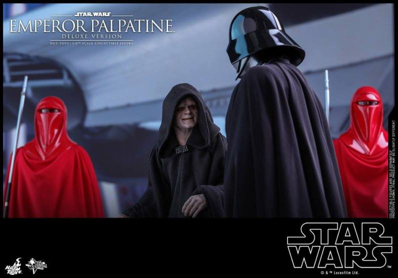 hot toys emperor palpatine figure -looking up at darth vader