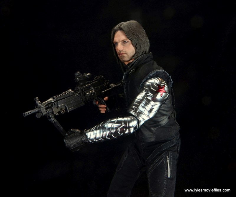 hot toys the winter soldier civil war figure review -side shot with machine gun