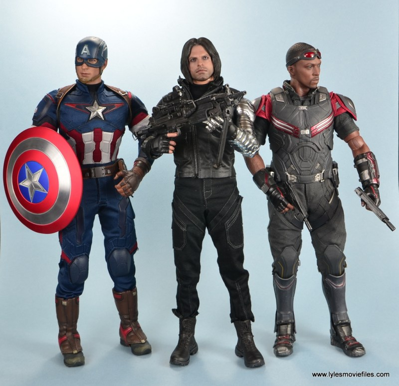 hot toys the winter soldier civil war figure review - with captain america and falcon