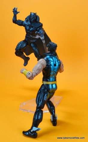 marvel legends black panther figure review - leaping at namor