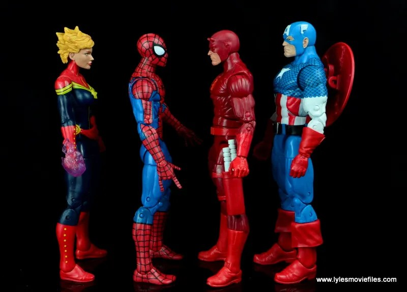 marvel legends retro spider-man figure review -scale with captain marvel, daredevil and captain america