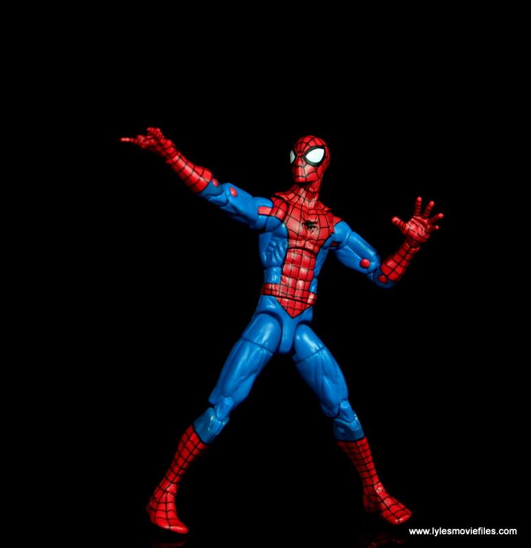 marvel legends retro spider-man figure review -shooting web