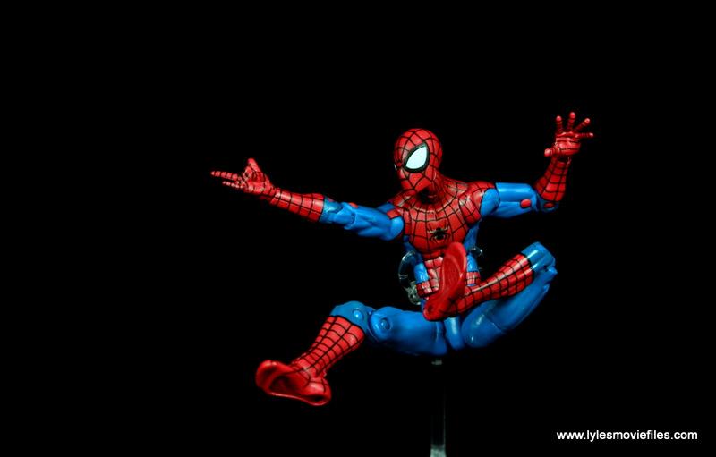 marvel legends retro spider-man figure review -web slinging