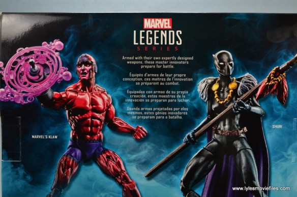 marvel legends shuri and klaw figure review -package bio