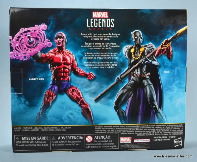 marvel legends shuri and klaw figure review -package rear