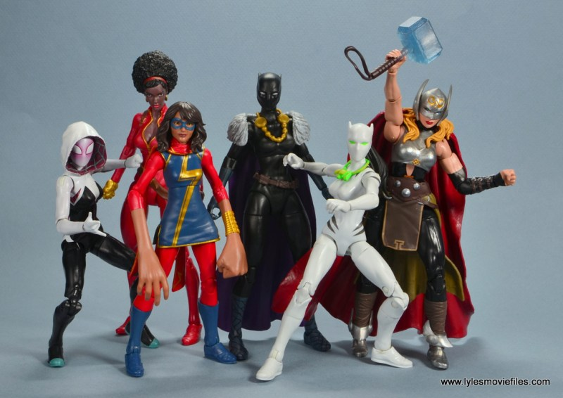 marvel legends shuri and klaw figure review -shuri with spider-gwen, misty knight, ms. marvel, white tiger and thor