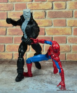 marvel legends tombstone figure review -punching spider-man
