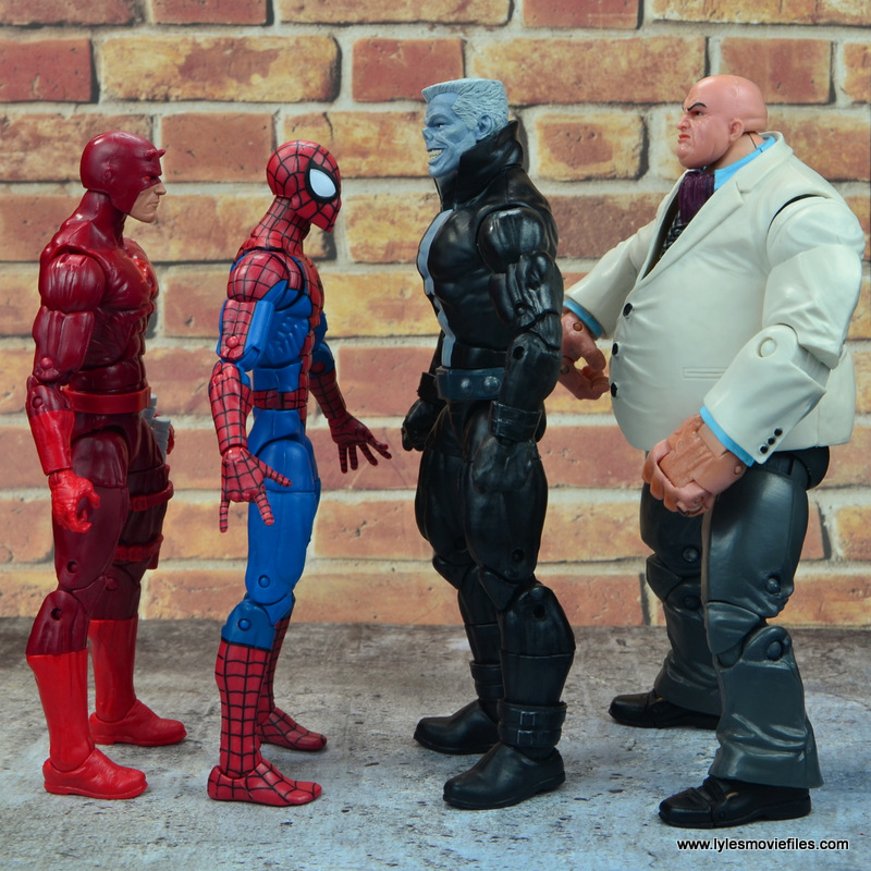 marvel legends tombstone figure review - scale with daredevil, spider-man and kingpin