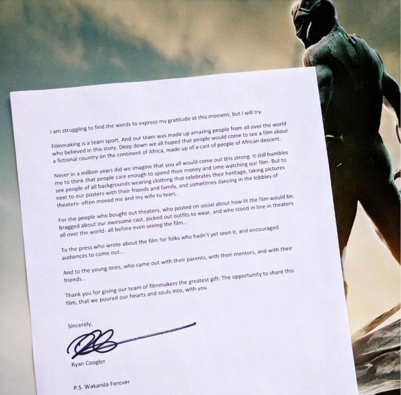 ryan coogler letter