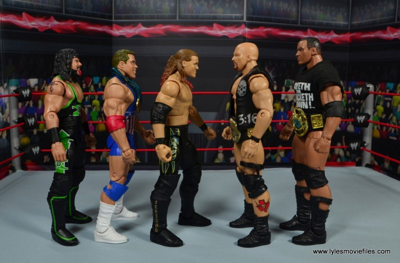 wwe defining moments chris jericho figure review - scale with x-pac, kurt angle, stone cold and the rock