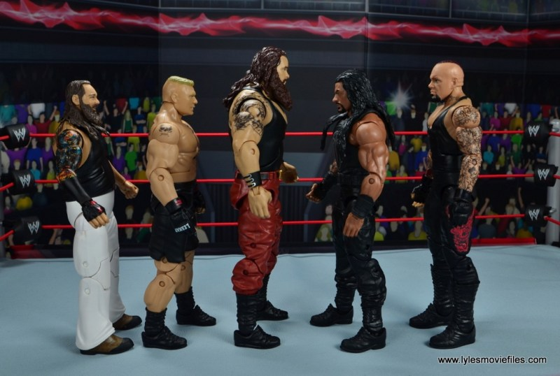 wwe elite 44 braun strowman figure review - scale with bray wyatt, brock lesnar, roman reigns and the undertaker