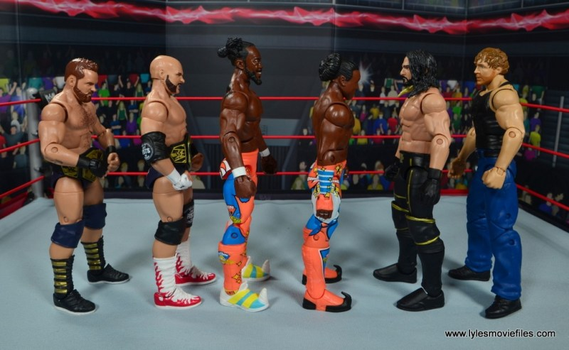 wwe elite 52 new day figure review -scale with the revival and the shield