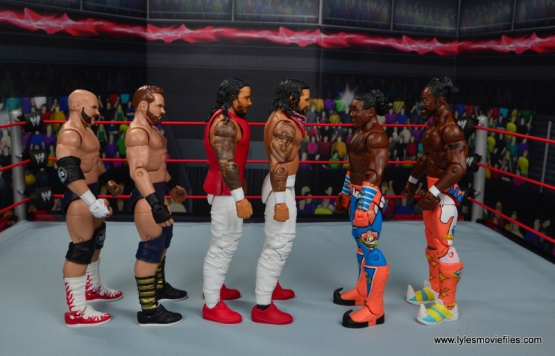 wwe elite 54 the usos jimmy and jey usos figure review - scale with the revival and new day