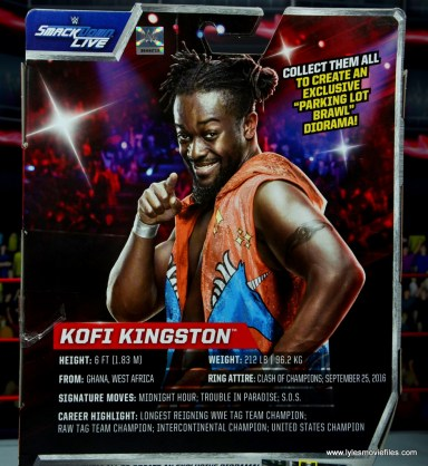 wwe elite kofi kingston figure review -package bio