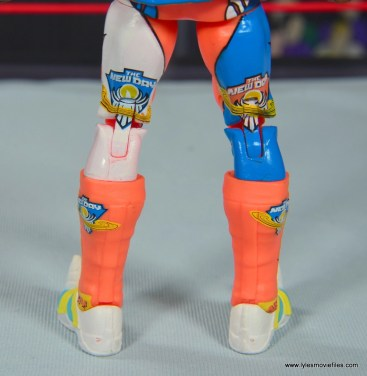 wwe elite kofi kingston figure review - rear view of legs and boots