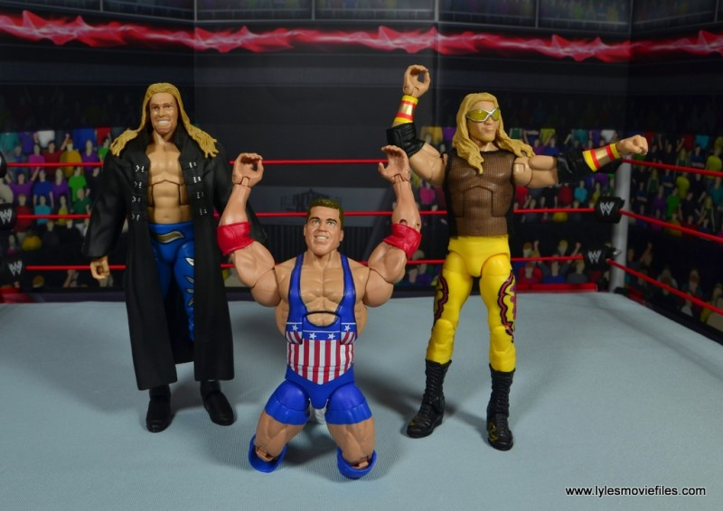 wwe entrance greats kurt angle figure review - posing with edge and christian