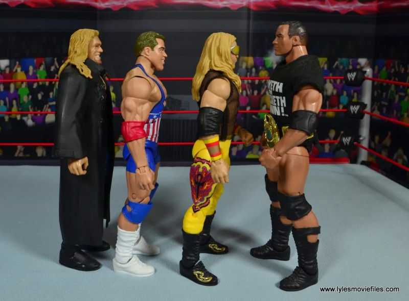 wwe entrance greats kurt angle figure review - scale with edge, christian and the rock