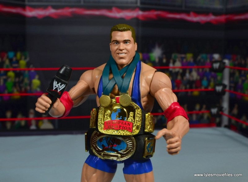 wwe entrance greats kurt angle figure review - with two titles, two medals and a mic