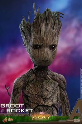 hot toys avengers infinity war groot and rocket figures - groot close up