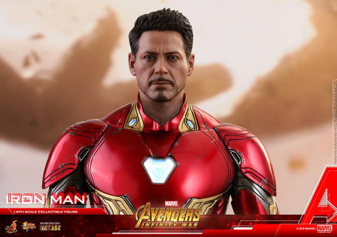 hot toys avengers infinity war iron man figure -wide unmasked tony stark