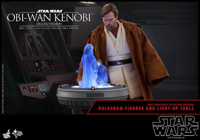 hot toys revenge of the sith obi wan kenobi figure - at hologram table