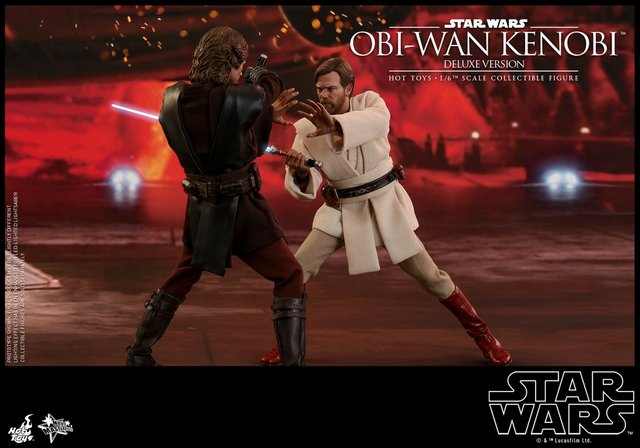 hot toys revenge of the sith obi wan kenobi figure -force push against anakin