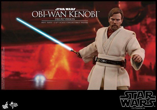 hot toys revenge of the sith obi wan kenobi figure -on mustafar