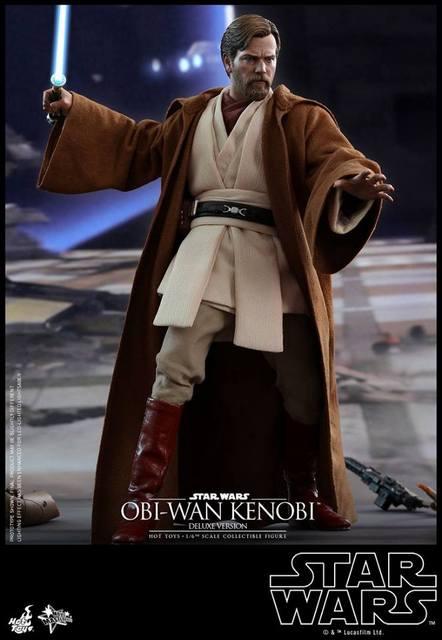 hot toys revenge of the sith obi wan kenobi figure -robe on in dooku spaceship