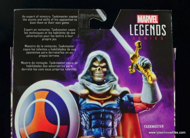 marvel legends taskmaster figure review - package bio