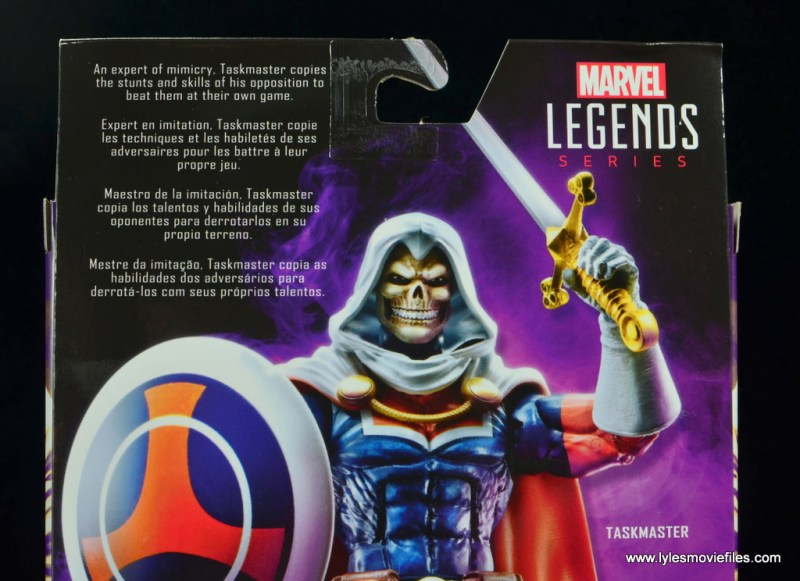marvel legends taskmaster figure review - package bio