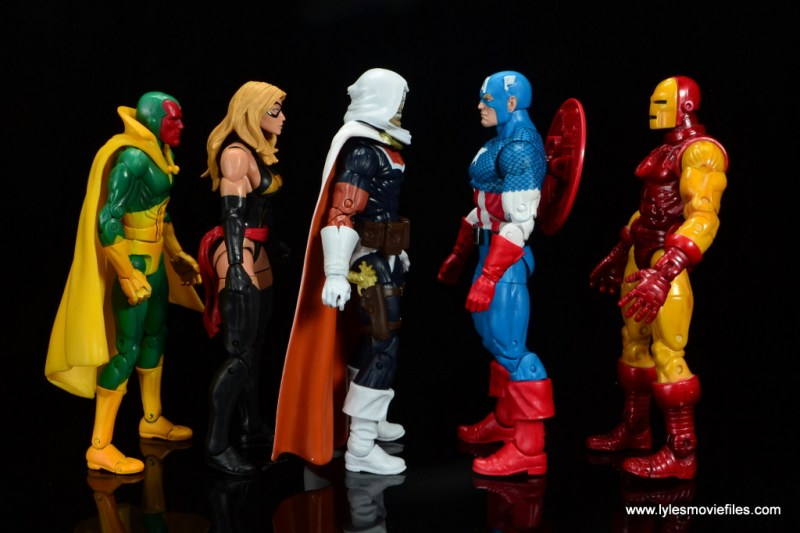 marvel legends taskmaster figure review - scale with vision, warbird, captain america and iron man