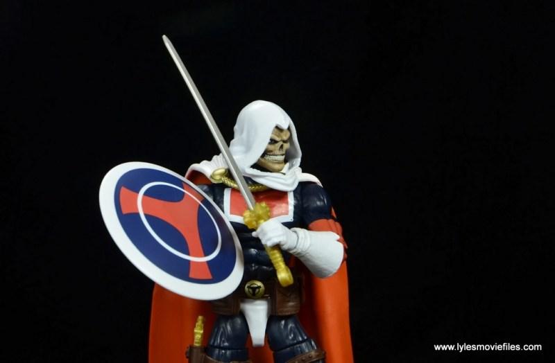 marvel legends taskmaster figure review - side shot of shield and sword