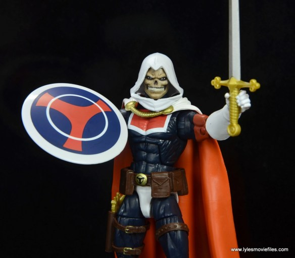 marvel legends taskmaster figure review - with shield and sword