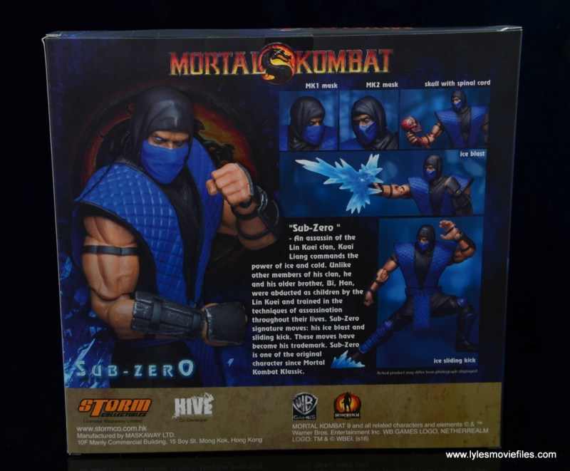 storm collectibles mortal kombat sub-zero figure review - package rear