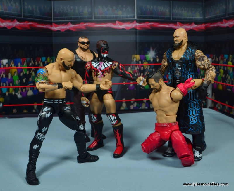wwe elite 56 karl anderson and luke gallows figure review -bullet club taunting nakamura