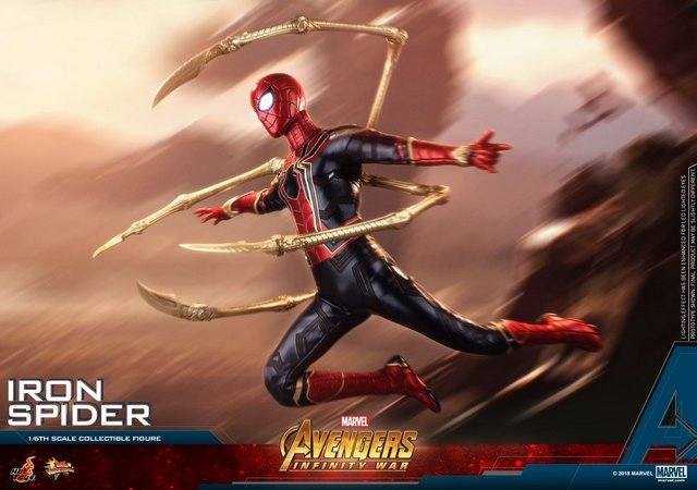 hot toys avengers infinity war iron spider-man figure -launching into battle