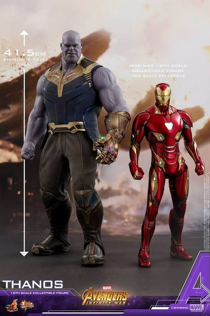 hot toys avengers infinity war thanos figure - scale with iron man