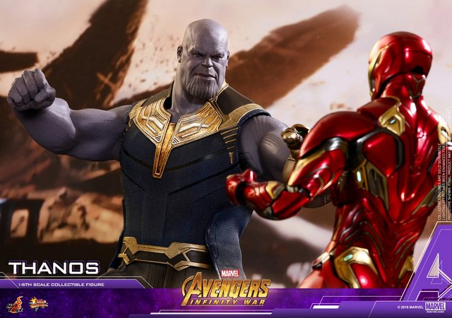hot toys avengers infinity war thanos figure - vs iron man