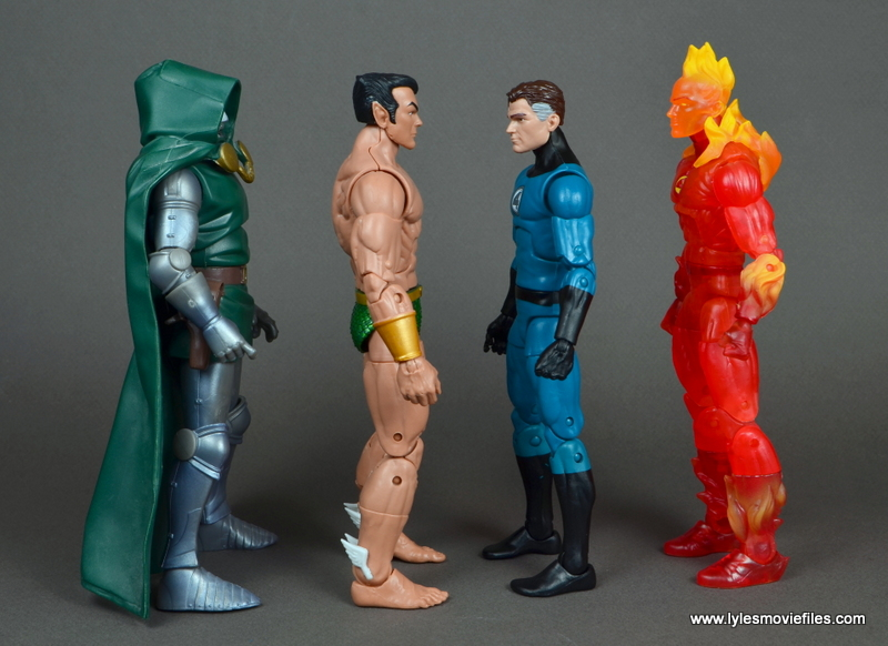 marvel legends mister fantastic figure review - scale with doctor doom, namor and human torch